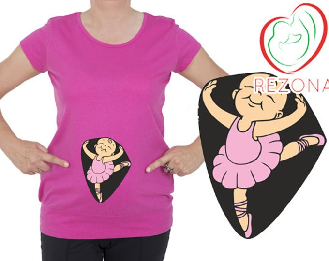 Dancing Ballerina, Baby Girl, Funny Maternity Shirt Pregnancy Tee T-shirt For Pregnant Maternity Top, Great Baby Shower Gift