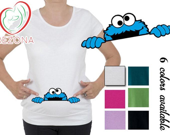 Peeking Cookie Monster Maternity clothes t-shirt, tShirt, Pregnancy MATERNITY Shirt,Peekaboo, Peeking Mickey,Baby Peeking, sesame street