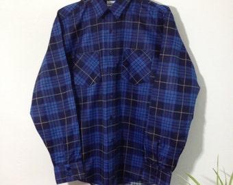 Vintage Dark Blue Check Shirt