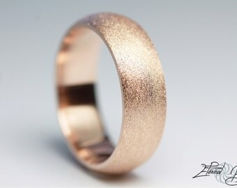 10k Solid Rose Gold Wedding Band, Matte Wedding Band, Brushed Wedding Band, 6mm, Matte Finish Half Round Band