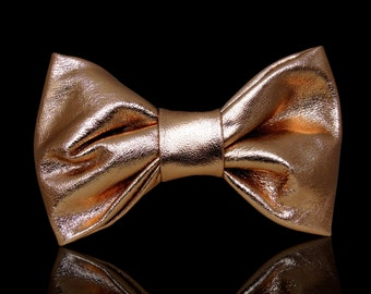 Thin and soft leather rose gold bow tie