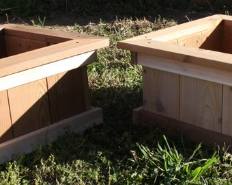 Two Brand New Open Base All Cedar Garden Planter Boxes, 18 inches square & 9 inches tall - Free Shipping