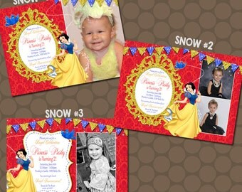 Princess Snow White Snowwhite Birthday Party Invitations Photos Printable Uprint Digital Printed * 3 designs * READ DESCRIPTION