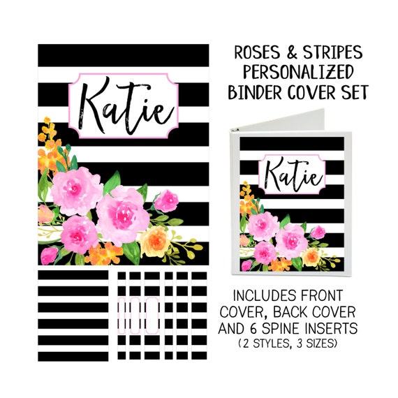 Printable Binder Cover Set - Roses & Stripes - Front and Back Covers and Spine inserts - Dress up Your Three Ring Binder!