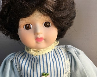 Vintage Memories Gone by Tomorrow's Collectibles Moble Arts Doll / Brunetter Blue Dress
