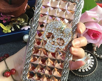Champagne Diamonds Metal Chain Skull Bow Bling  Luxury Lovely Charms Glossy Unique Crystals Rhinestones Diamonds Hard Case for Mobile Phone