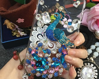 Bling Sparkles Lovely White Lace Flower Luxury Blue Peacock Gems Crystals Rhinestones Diamonds Fashion New Hard Cover Case for Mobile Phone