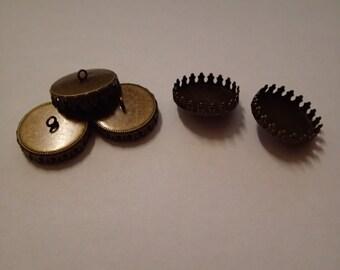 20 mm bead caps for resin jewellery bronze colour