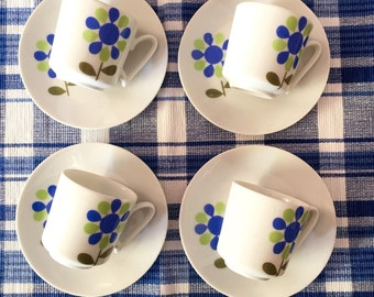 1960's vintage flower power espresso cups and saucers