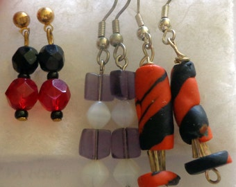 Three Pairs of Handmade Dangle Earrings