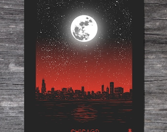 Chicago Moon Screen Printed Poster