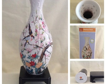 Oriental Birds and Flowers Jigsaw Puzzle Vase - by Pintoo