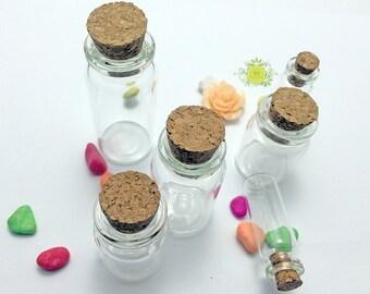 20 Glass Vile-Miniature Glass Jar with Cork-Glass Vial Pendant-DIY Bottle Necklace-Tiny Glass Bottle-Message Bottle-22mm Opening-N size