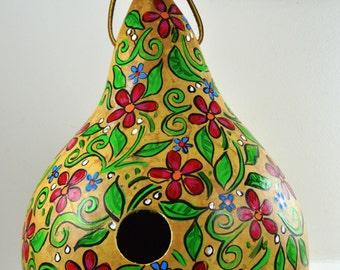 Gourd Birdhouse, Painted Gourd, Garden Decor, Yard Art, Decorative gourds, Painted Gourds, Floral Design, OOAK, Original