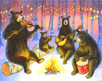 "Signed A4 Giclee limited edition print ""Musical Bears"", for those who love musical bears! By Laura Robertson"