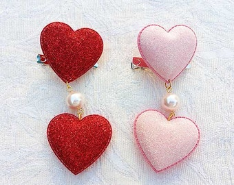 2 Glitter Hearts Hair/Brooch Accessory