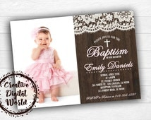 Rustic Baptism Invitation Personalized Printable Boy Girl Picture Photo Wood Lace Communion Cross Christening Custom Printable