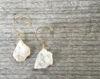 White Druzy Drop Earrings - Druzy Earrings -White Druzy Earrings - Drop Earrings -Dangle Earrings -Gift for her -Gift under 40