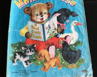 1956 Mother Goose - A Real Cloth Book, Vintage