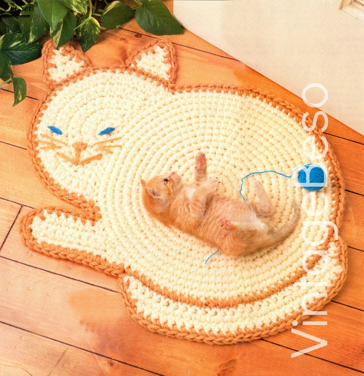 Rug Crochet Pattern Cat Crochet PATTERN Vintage Cat By