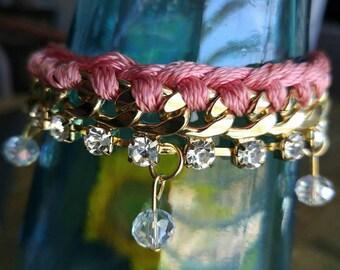 Pink & Gold Braided Chain Bracelet