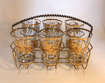 SALE - Gold design glasses with brass holder - original from the 1950's - was GBP38, now GBP30