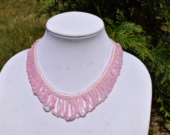 Handmade Seed Bead Collar Necklace, Pink/White Necklace, Seed Bead Jewelry, Necklace, Beadwork