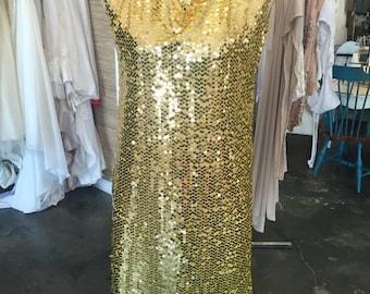 Yellow Sequin Mini Dress