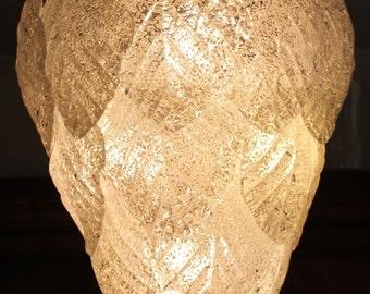 Murano chandelier, mid century modern chandelier, frosted glass leaf chandelier