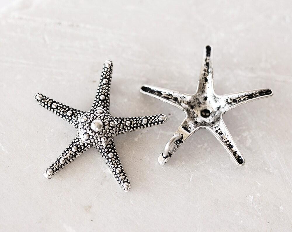 2164 starfish pendant 37x37mm silver starfish antique silver