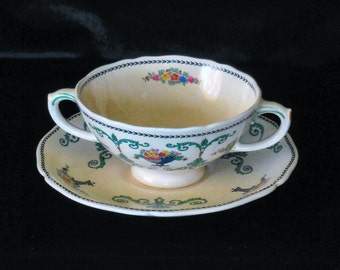 Royal Doulton Cream Soup Bowl with Saucer in the Roseberry pattern