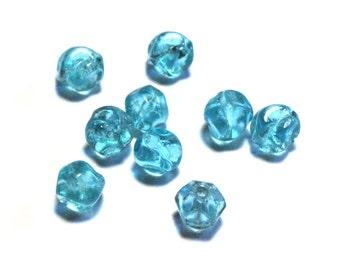 9 Blue Vintage Beads, Blue Glass Beads, Swirl Beads, Aqua Blue Beads, Vintage Blue Beads, Blue Swirl Beads, Vintage Aqua Blue Glass Beads