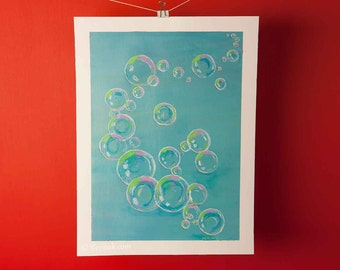 Bubble painting, 16 x 12 in, original acrylic painting, bubbles on irridescent blue, nursery art, OOAK, coloured bubbles, bubble artworkles