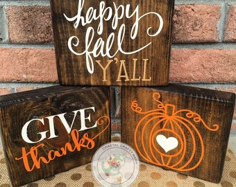 Fall wood block set, Fall sign, Thanksgiving wood block set, Thanksgiving decor, Fall decor, Fall blocks, Seasonal home decor fall