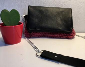 handbag leather and wool