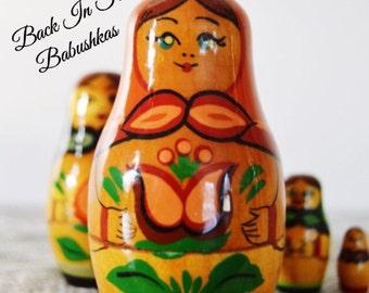 Brest, Belarus Nesting Dolls, USSR Vintage Matryoshka Dolls, Colorful Matreshka Dolls, Babushka Dolls, Spring Floral Set.