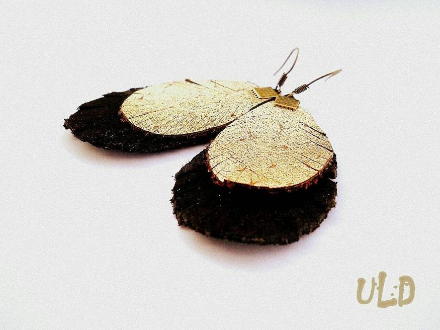Golden Leather Fringe Earrings