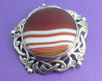 Vintage Silver Brooch, Scottish Silver Brooch, Banded Agate Brooch, 'Iona' Silver, Alexander Ritchie Tradition,