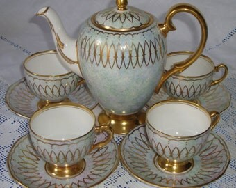 EDWARDIAN Coffee Set Richly Gilded 24 Carat Gold. Fit For A King / Queen