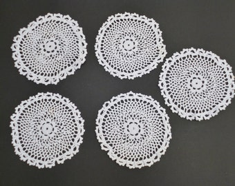 Cotton Crochet Lace Coasters, Five, Small