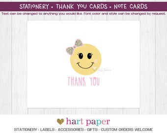 Emoji Emoticon Bow | Printed Thank You Cards Folded Flat Card Notecard Stationery Birthday Baby Shower Gift Stationery