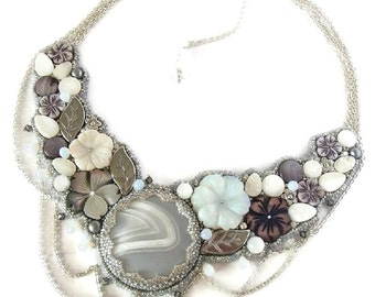 White and Grey Embroidered Necklace , Gemstone and mother-of-pearl Necklace, Flowery Necklace
