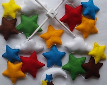 Baby cot mobile - stars mobile - moon and stars mobile - colorful nursery - bright cot mobile