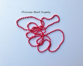 """Set of 10 Red Ball Chain Necklace 2mm with Connector,  27.6"""" Long Ball Chain Necklace, Red Ball Chain"""