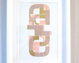 Fine Art Screenprint | Limited Edition | Modern Mid Century Print | Gold & Pink