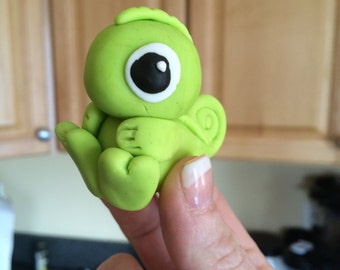 1 Dozen Cute Little Fondant Pascal the Chameleon Cake or Cupcake Toppers- Sitting or Standing