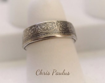 India Silver Half Rupee coin ring with Patina finish