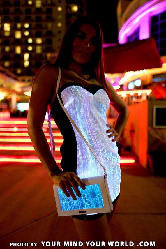 Fiber Optic Light Up Dress EDM LED Rave Festival Unique Clothing Clubwear for Women