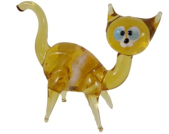 Cat Glass Figurine  Art Glass Murano Style Hand Blown Lampwork 3 Inch Long Collectible Gifts