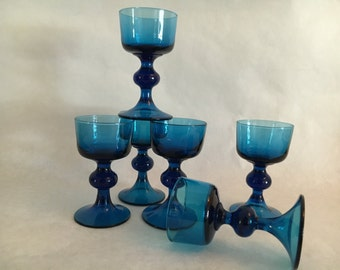 Aqua Blue Cordial Stemmed Glasses Set of 6 Vintage